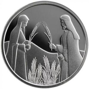 ISRAEL COIN & MEDAL 2020 BIBLE STORY RUTH IN BOAZ'S FIELD PROOF LIKE SILVER