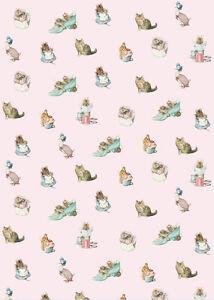 Dollhouse Miniature Pink Beatrix Potter Peter Rabbit Wallpaper 1:12 Nursery