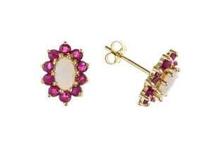Ruby and Opal Earrings Solid 9 Carat Yellow Gold Cluster Studs Natural Stones