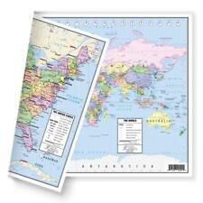 """Us and World Desk Map 13"""" x 18"""" Laminated for Students Home Office 2 Side Map"""