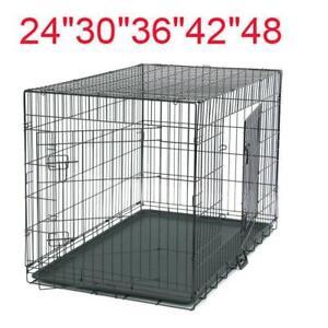 """24""""/30""""/36""""/42""""/48"""" Pet Cat Dog Folding Steel Crate Playpen Wire Metal Two doors"""