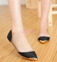 Womens Flats Slip On Loafer Transparent Bling Sequins Dress Pump Shoes EUR35-41