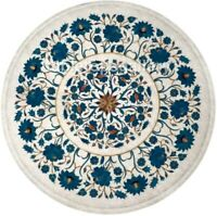 """14"""" White Marble Corner Coffee Table Top Turquoise Floral Inlay Patio Decor W494"""