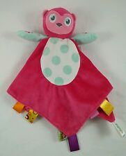 Taggies Hot Pink Plush Owl Aqua Blue Polka Dots Security Blanket Tags 14x14
