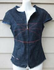 DIESEL blue DENIM zip front jeans FITTED TOP 8 10 blouse BUY 3+ITEMS= FREE POST