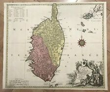 CORSICA FRANCE 1750 by TOBIAS CONRAD LOTTER LARGE NICE ANTIQUE MAP 18TH CENTURY