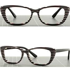 5242b66b58 Womens Cat Eye Plastic Frame Glasses Spring Hinge Zebra Print White Stripe  Black