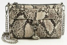 REBECCA MINKOFF SNAKE EMBOSSED LEATHER NATURAL FULL SIZE MAC CLUTCH CROSSBODY