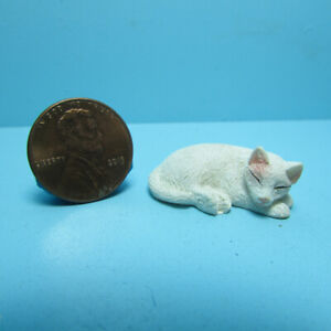 Dollhouse Miniature Small White Cat for a Pet Sleeping  IM65445