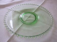 LARGE JOSEF INWALD CANDLEWICK GREEN GLASS ROUND PLATTER