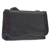 Auth CHANEL CC Logos Beads Cross Body Shoulder Bag Black Satin Vintage AK29057
