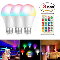 3 PCS 16 Color Changing Light Bulbs with Remote Dimmable LED Light Bulb E27 Base