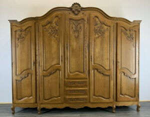 Louis XV Style Vintage French Oak  5 door Armoire Wardrobe