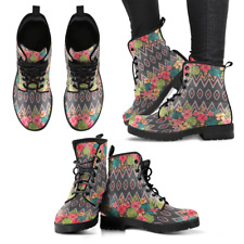 Ethnic Floral Handcrafted Women's Vegan-Friendly Leather Boots