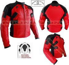 Deadpool estilo para hombre rojo CE Armadura Moto/moto chaqueta de cuero