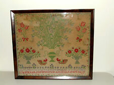 Antique 19th Century Framed Victorian Civil War Era Textile Sampler dated 1867