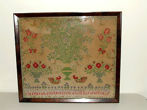 Antique 19th Century  Framed Victorian Civil War Era Textile Sampler dated 1867