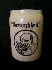 """Antique German stoneware beer stein bierkrug """"Gesundheit """" 1/2 L."""