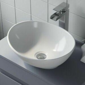 Bathroom Vanity Wash Basin Sink Countertop Oval Curved White Modern 410 x 340mm
