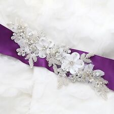 Organza Lace Flower Rhinestone Beaded Faux Pearl Wedding Bridal Sew on Applique