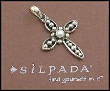 SILPADA .925 Sterling Silver & White Pearl, Contemporary Credence Cross Pendant
