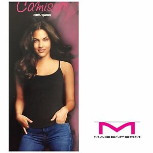 NEW MAIDENFORM 2- PACK COTTON STRETCH CAMISOLE Black/White FREE SHIP M35