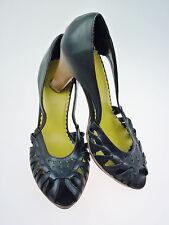Sz 9 Tribeca Kenneth Cole Platform Heel Peep Toe Black Leather EUR 40, UK 7