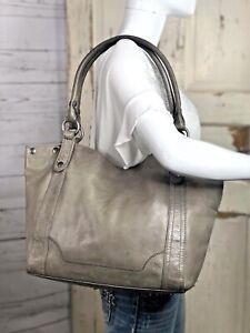 FRYE MELISSA Ice Gray Pull-Up Leather Large Shopper Tote Carryall Shoulder Bag
