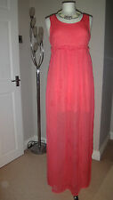 Gorgeous TOPSHOP Coral Maxi Holiday Dress  Size UK 10 EU 38 Tall