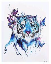 Tiger & Butterfies Temporary Tattoo A5 Body Art Adults Tattoos Blue Big Cats 🐾