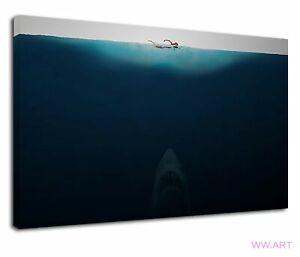Shark Week Jaws Movie Poster Style Swimmer Canvas Wall Art Picture Print