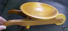 Vintage Wooden Wood Wheelbarrow bowl Nut fruit Unique