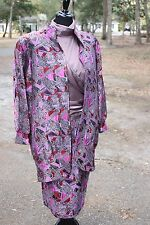 10 12 Vintage Christos Maillis Couture Purple Blouse Skirt Blazer Lot Set Suit