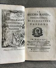 TASSONI  LA SECCHIA RAPITA  POEMA EROICOMICO  1786  LIVRE ANCIEN