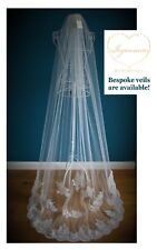 Wedding Veil *Cathedral Length*1 T *Corded Lace Appliques*Ivory&Off white*