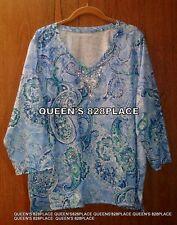 New Allison Daley 3X Blue white Paisley Embellish 3/4 Sleeve Tunic Top V-neck