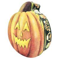 "Debbie Mumm Halloween Cookie Tin 9"" Jack O Lantern Pumpkin Shaped The Boo Crew"