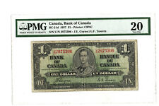 1937 $1 CANADA PMG 20 BC-21d BANKNOTE S/N U/N 2975396 COYNE TOWERS VERY FINE