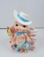 Vintage Cowboy Planter Relpo 5646 Ceramic Baby Boy Nursery Decor 1965 Japan