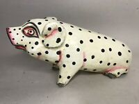 "Hand Carved Wooden Sitting Pig Country Decor 4x8"" Farm Animals Polka dot"