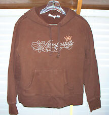 AEROPOSTALE BROWN HOODED LONG SLEEVE SHIRT SIZE M