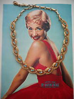 VINTAGE 50s CORO GOLD TONE AQUA SWAROVSKI CRYSTAL NECKLACE BRIDAL BEAUTIFUL GIFT