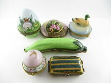 Assortment of 6 Hand Painted Decorative Collectible Limoges Boxes and Containers