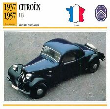 Citroën Traction Avant 11B Coupé 4 Cyl. 1937 France CAR VOITURE CARTE CARD FICHE