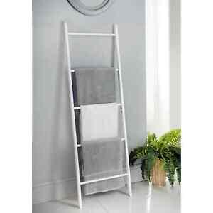 Tall Wooden Blanket Towel Ladder 5 Rungs Hooks Bathroom Rack Decor Shelf