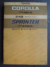 JDM TOYOTA COROLLA / SPRINTER KE70 AE70 TE71 Original Service Shop Repair Manual
