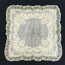 FABULOUS ANTIQUE LARGE 1800's ECRU HAND SEWN EMBROIDERY LACE HANDKERCHIEF HANKIE
