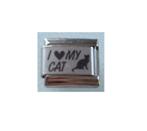 9mm Italian Charm Black Cat  L60  I Love my Cat Fits Classic Size Bracelet