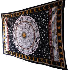 Zodiac Astrology Mandala Tapestry Black & White Wall Hanging Room Decor Throw