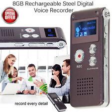 Dictaphone Numérique 8GO Dictaphone en acier Rechargeable Speaker Lecteur MP3 LCD